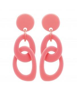 Boucles d'oreilles double anneaux en resine rose pastel marion godart