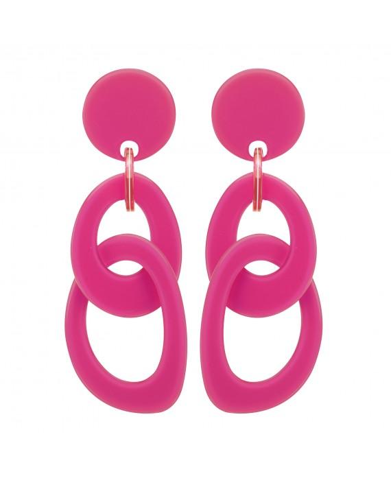Boucles d'oreilles double anneaux en resine rose fushia marion godart