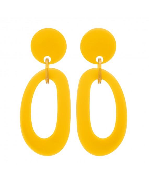 Boucles d'oreilles anneaux en resine jaune marion godart