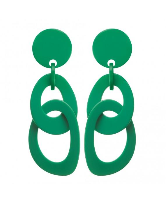 Boucles d'oreilles double anneaux en resine vert marion godart