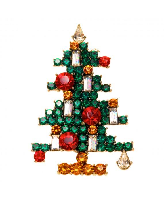Broche Sapin de Noël Origami Strass