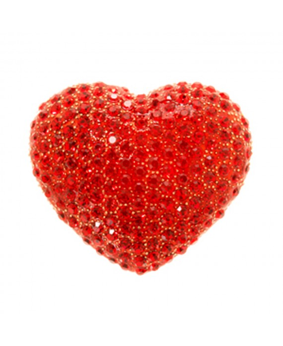 Broche Coeur rouge strass